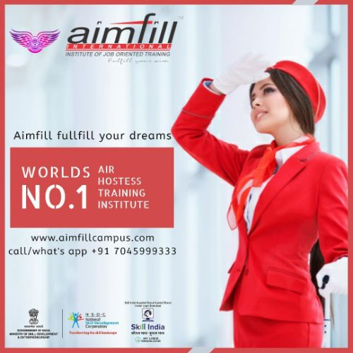 Aimfill International Air hostess training can be taken up at three levels, as certificate courses, as diploma courses, and as degree courses. The course fee is between Rs 9,000 and above certification from NSDC,Skill India & UK Ofqual etc.....
