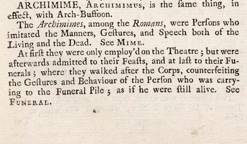 Archimimes (funeral clowns) definition from Cyclopaedia