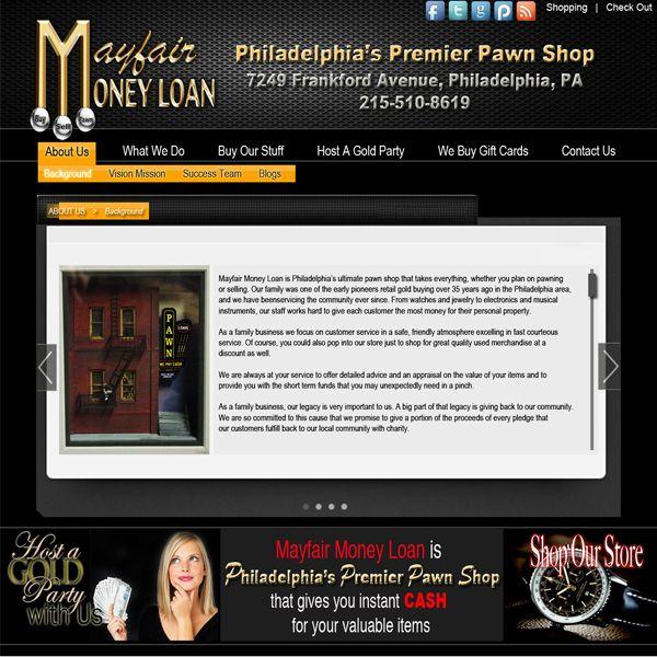 Project: Web Design, Client: Mayfair Loans - USA