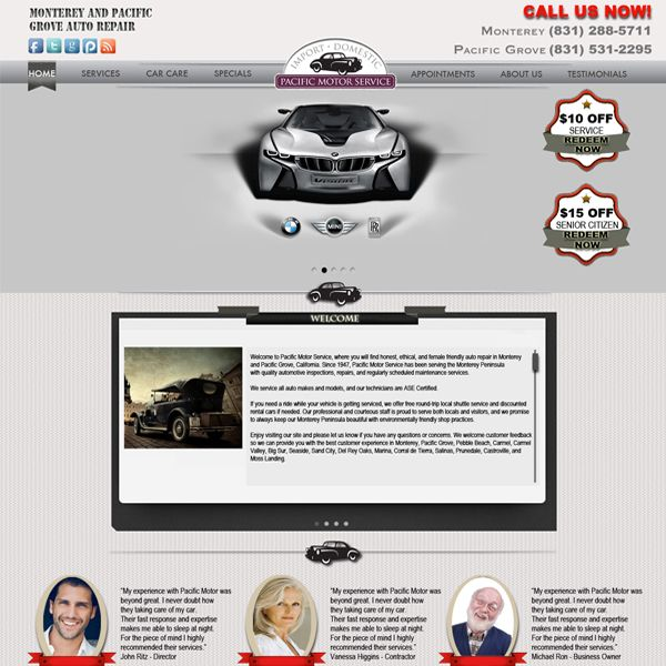 Project: Web Design, Client: Pacific Motor Service - USA