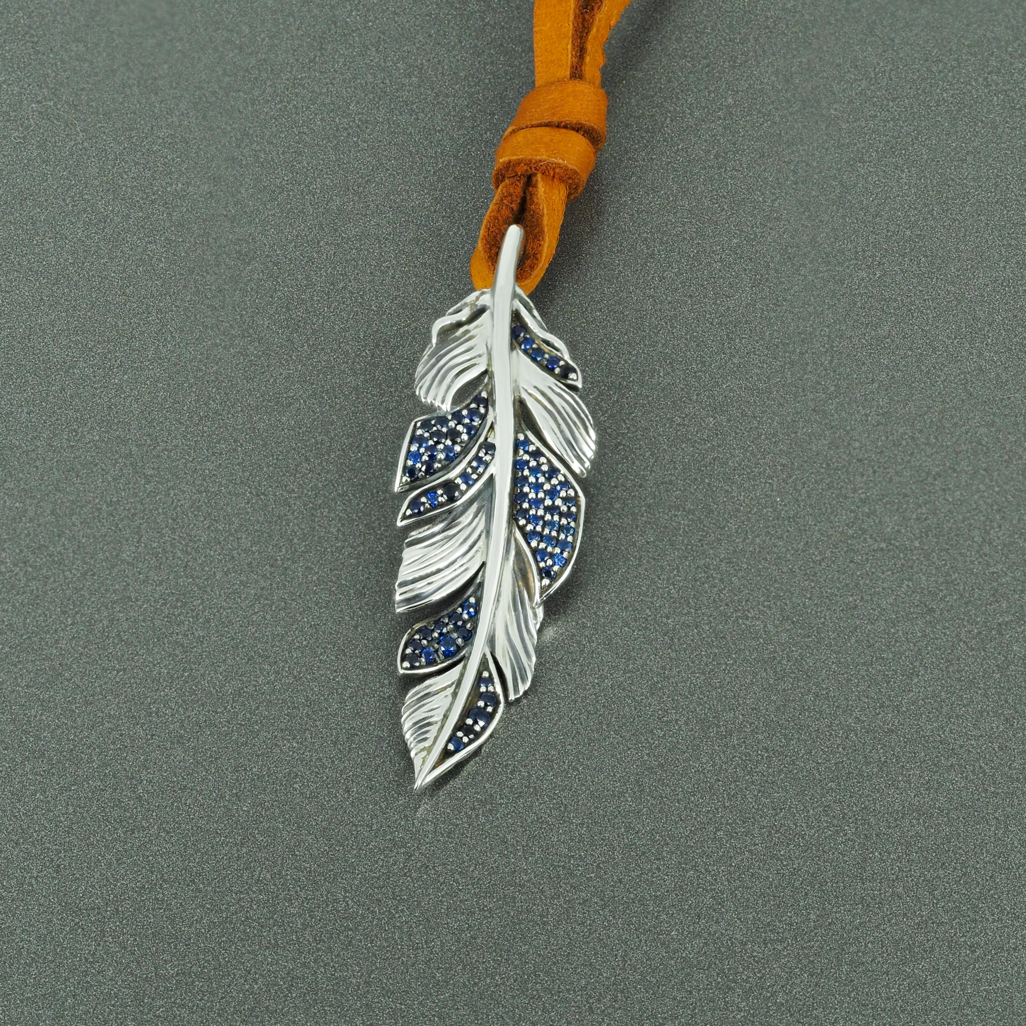 Pendant Feather Blue  Sapphires