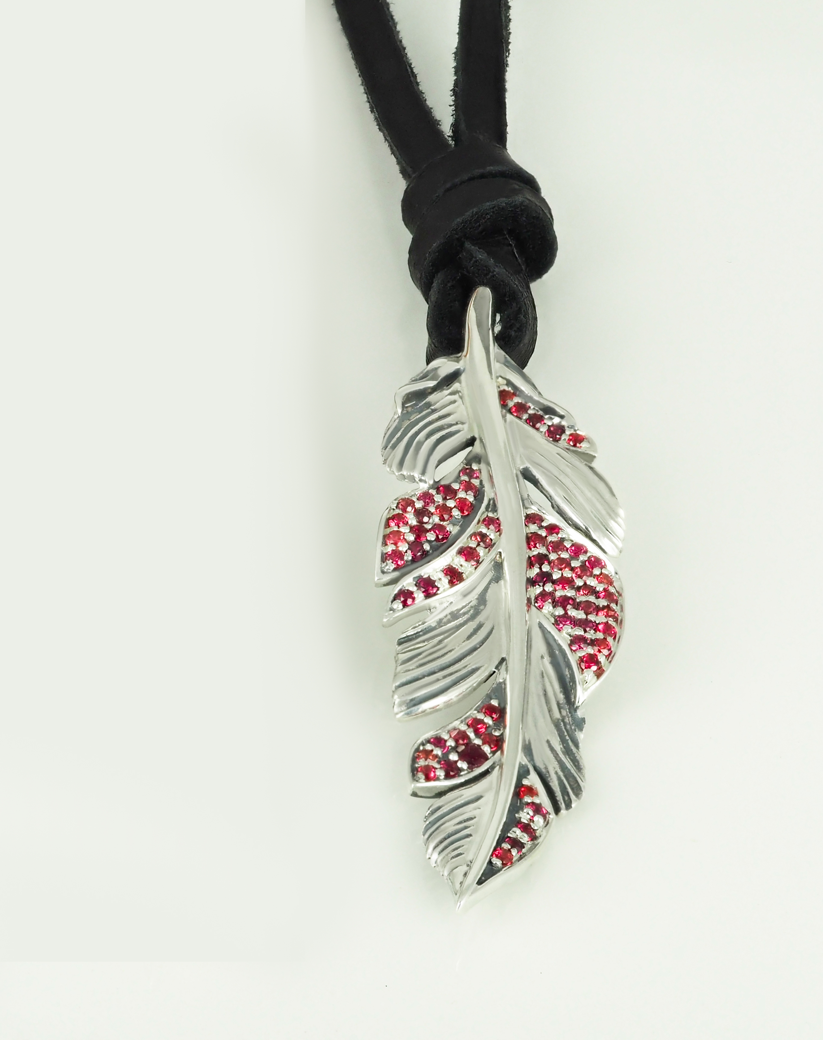 Pendant Feather Red  Sapphires