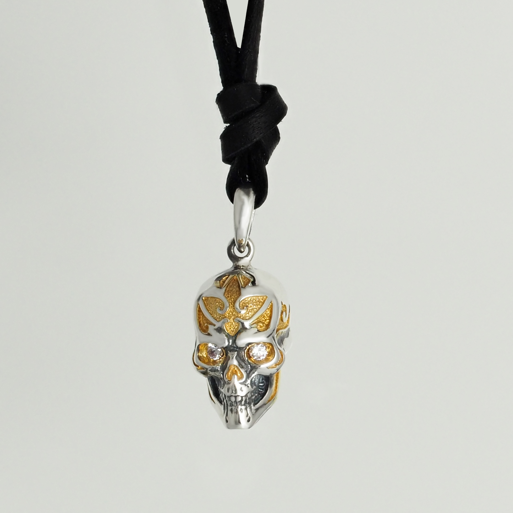 Sterling Silver Gold Plated Skull Pendant