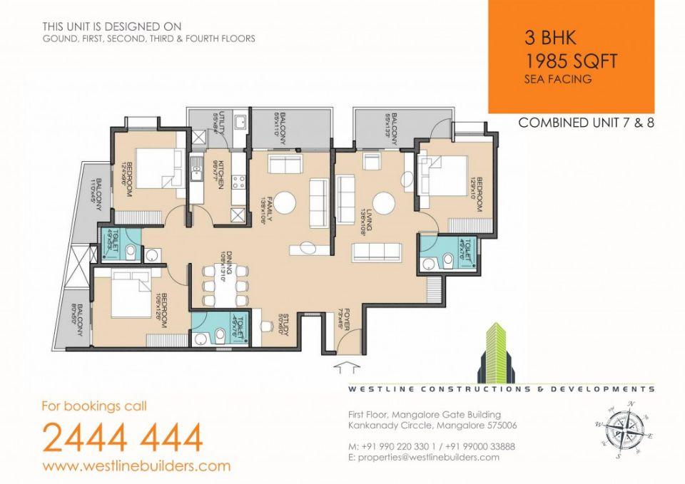 3BHK flat in mangalore thokkottu 1985 sft