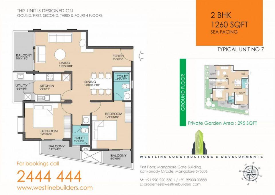 2BHK flat in mangalore thokkottu 1260 sft