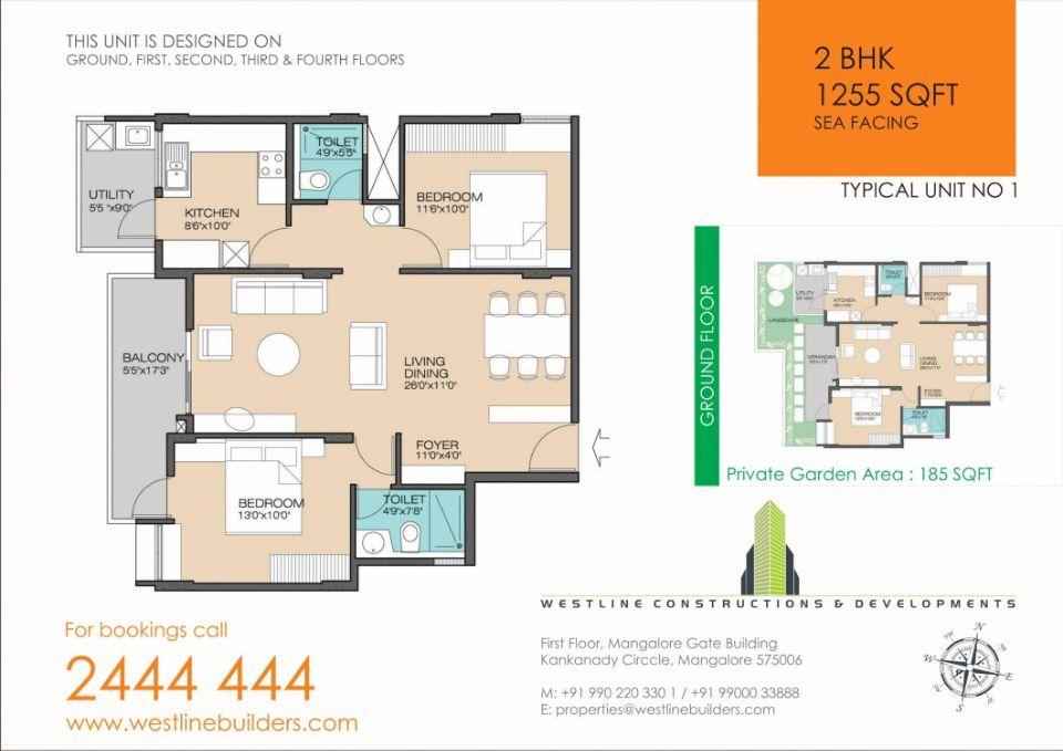 2BHK flat in mangalore thokkottu 1255 sft