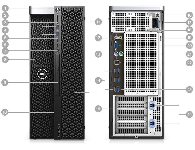 {42PT78DW26}Precision 7820 Tower XCTO Base-Silver 4112-32GB-2TB-NVIDIA Quadro P5000(16GB)-Win10P-3Y chính hãng