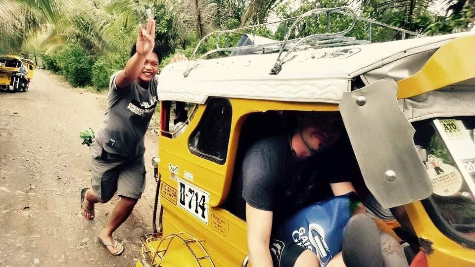 Our pedicab is stuck somewhere in the jungle