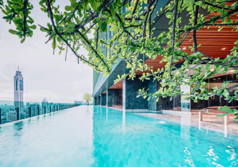 SKY POOL (Floor 37)<br>The stunning infinity Sky Pool makes you feel like swimming among the clouds in the beautiful sky so that every swimming time is filled with fun and joy. Further, the saunas are an ideal choice for the health-conscious.