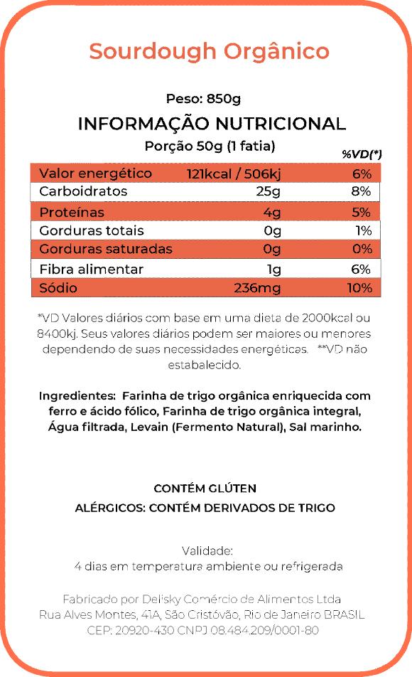 Sourdough - Informação Nutricional
