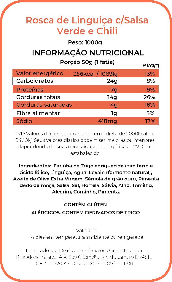Rosca linguiça - Informação Nutricional