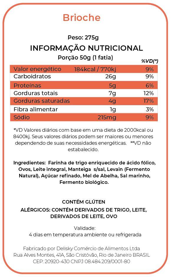 Brioche - Informação Nutricional