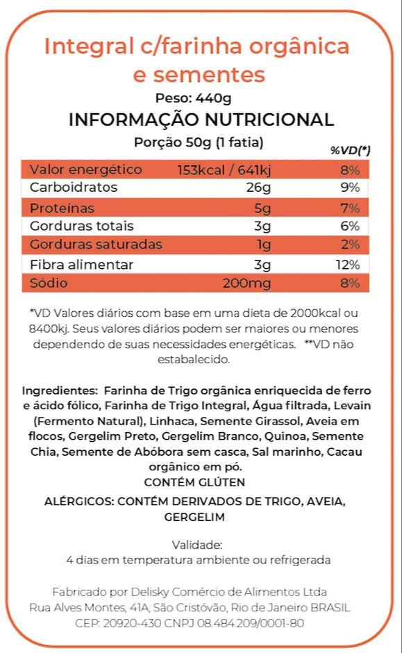 Integral c/Farinha Orgânica - Informação Nutricional