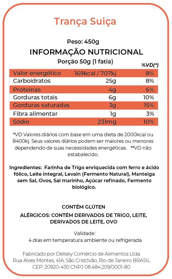 Trança Suiça - Informação Nutricional