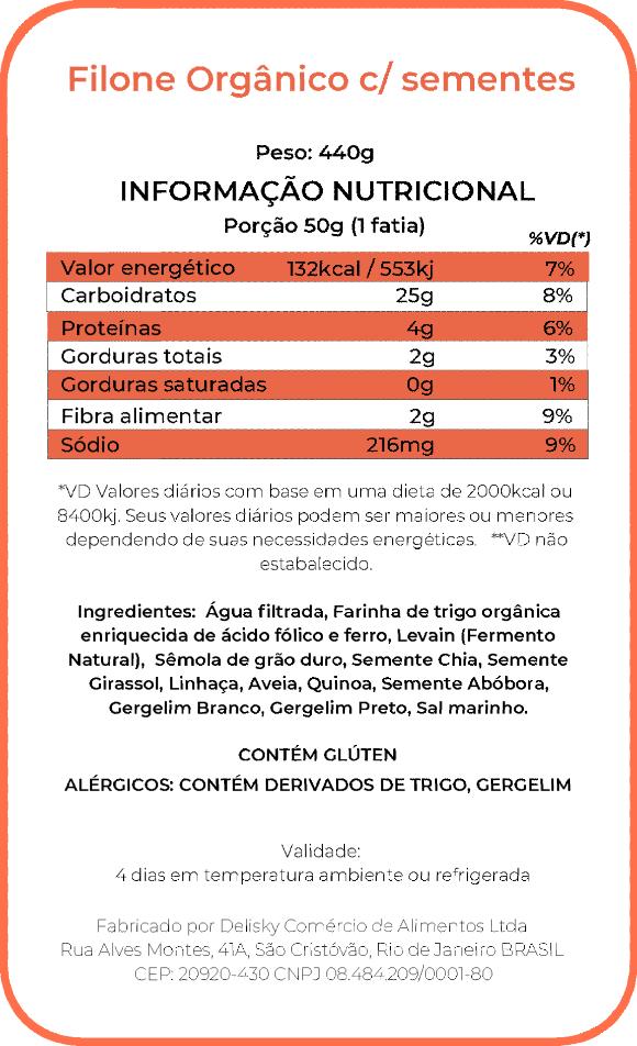 Filone Orgânico Sementes - Informação Nutricional