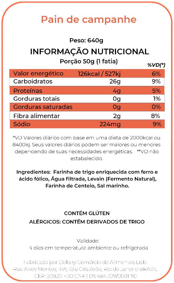 Pain de Campagne - Informação Nutricional