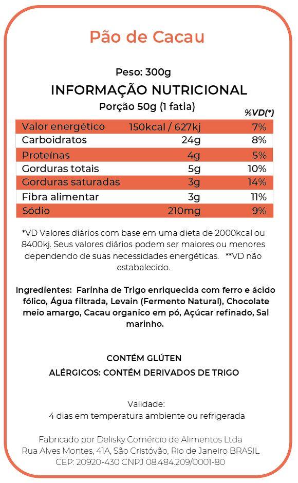 Pão de Cacau - Informação Nutricional