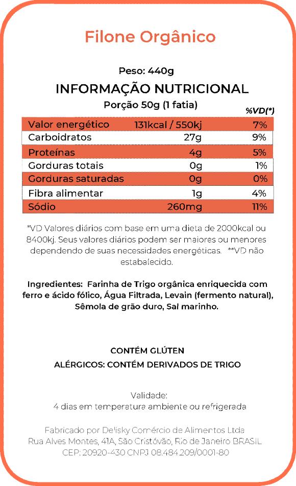 Filone Orgânico- Informação Nutricional