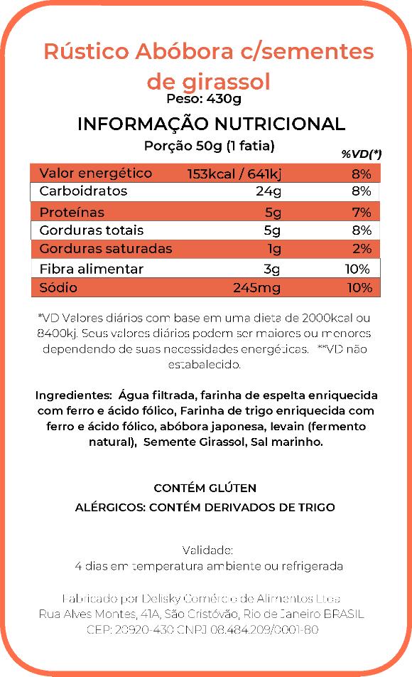Rústico de abóbora - Informação Nutricional