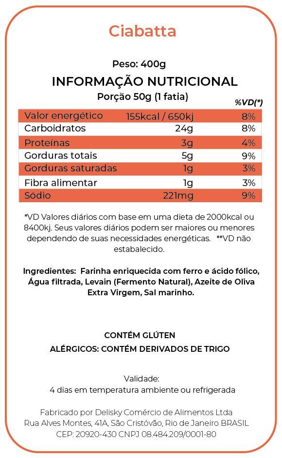 Ciabatta - Informação Nutricional