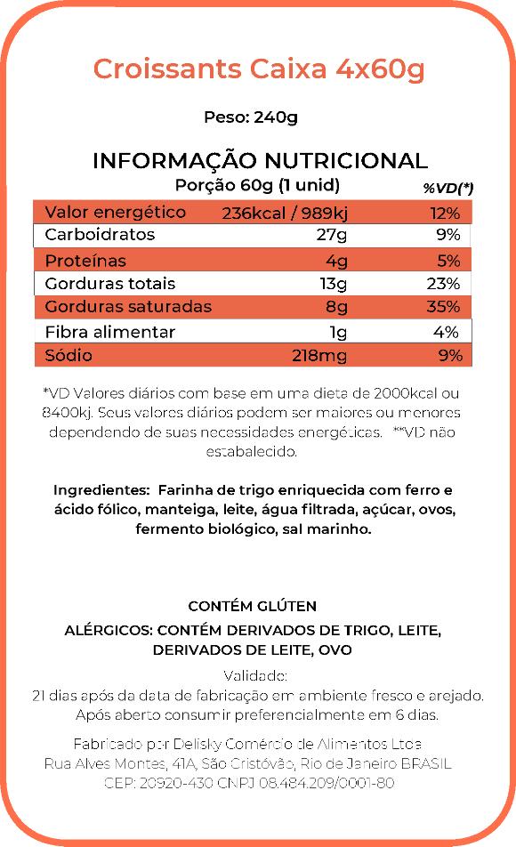 Croissant - Informação Nutricional