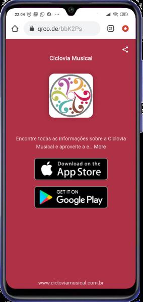 celular com link para app store