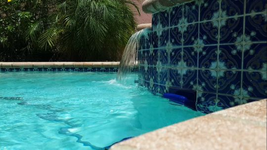pool waterfall with custom design
