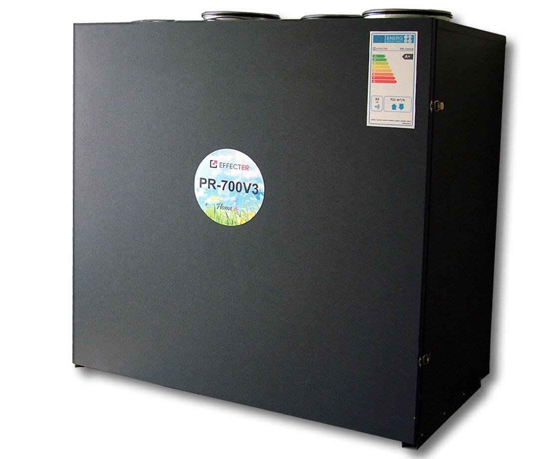 PR-700V3(A+)-P5 Membraninis rekuperatorius su 3-jų pakopų entalpiniu šilumokaičiu. Įrenginio našumas: 721m3/h prie 100 Pa; Efektyvumo klasė: A+; Variklių galia: 0,26kWt; Šilumokaičių plotas: 33,46kv.m.; EC ventiliatoriai; Valdymas P5 su pultu.