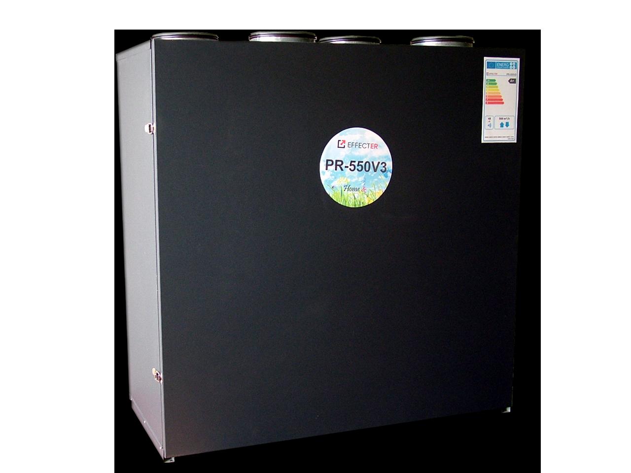 PR-550V3(A+)-P1 Membraninis rekuperatorius su 3-jų pakopų entalpiniu šilumokaičiu. Įrenginio našumas: 560m3/h prie 100 Pa; Efektyvumo klasė: A+; Variklių galia: 0,356kWt; Šilumokaičių plotas: 26,6kv.m. EC ventiliatoriai; Rankinis valdymas.
