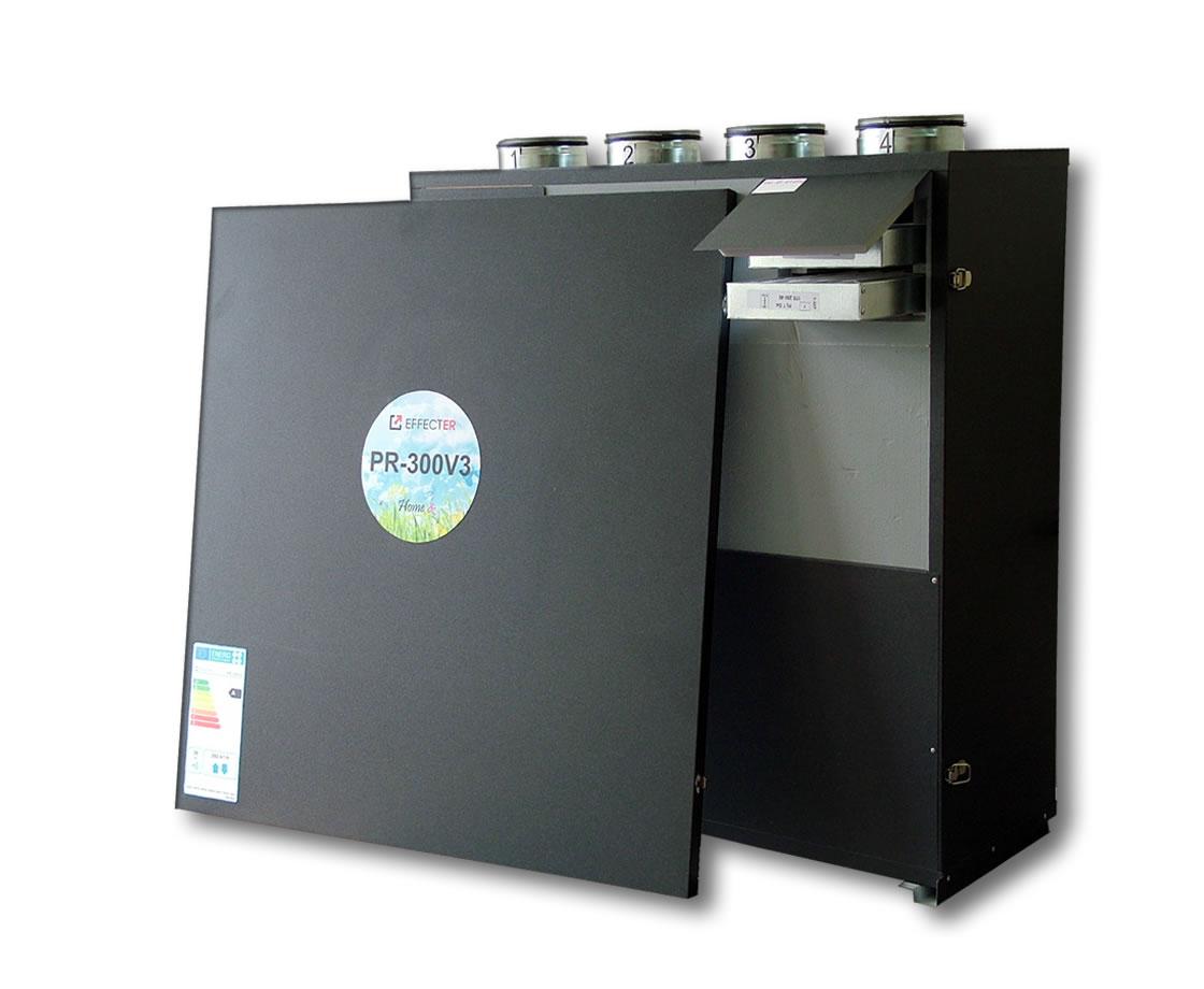 PR-300V3-P5  Membraninis rekuperatorius su 3-jų pakopų entalpiniu šilumokaičiu. Įrenginio našumas: 292m3/h prie 100 Pa; Efektyvumo klasė: A; Variklių galia: 0,166kWt; Šilumokaičių plotas: 10,8kv.m.;  EC ventiliatoriai; Automatika P5