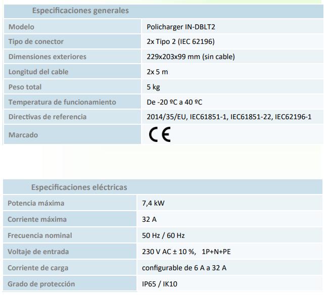 Cargador Policharger IN-DBLT2