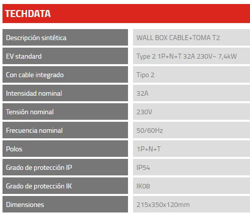 Cargador Scame WALL BOX CABLE 204.WB11E-T23