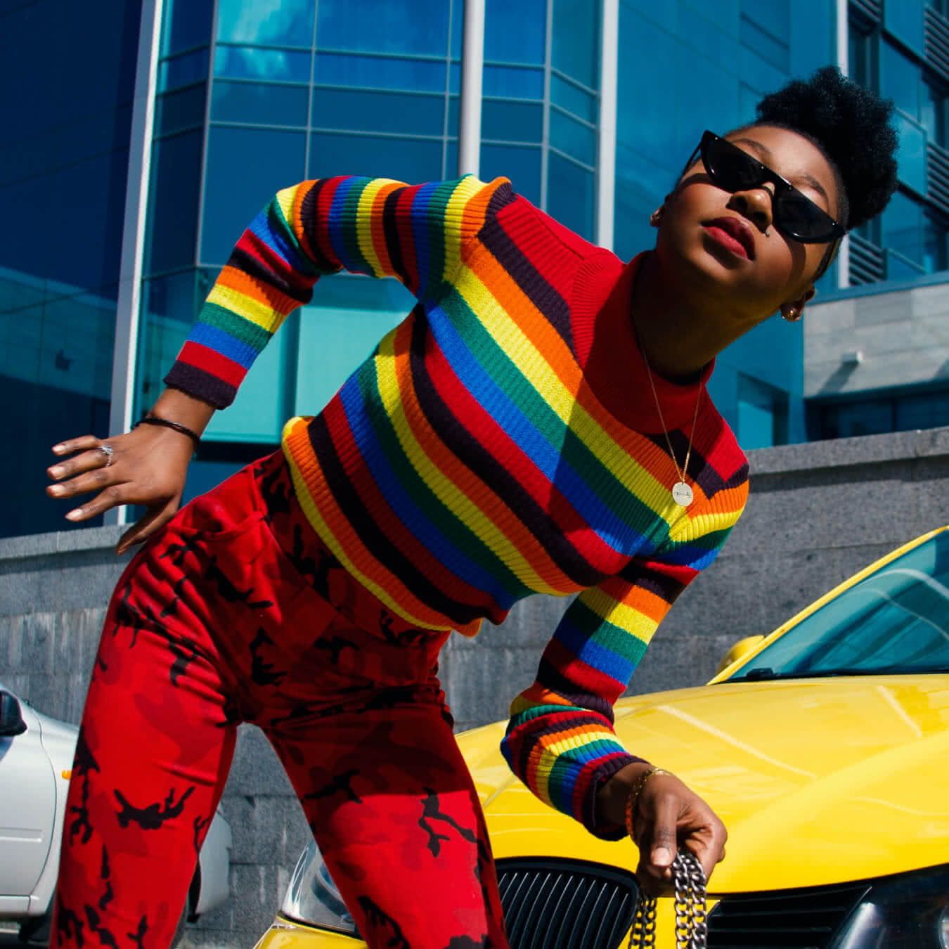 Colorful Jumper with Horizontal Stripes