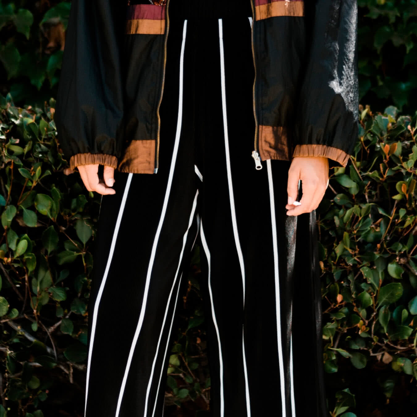 Black Wide Suede Pants with White Stripes