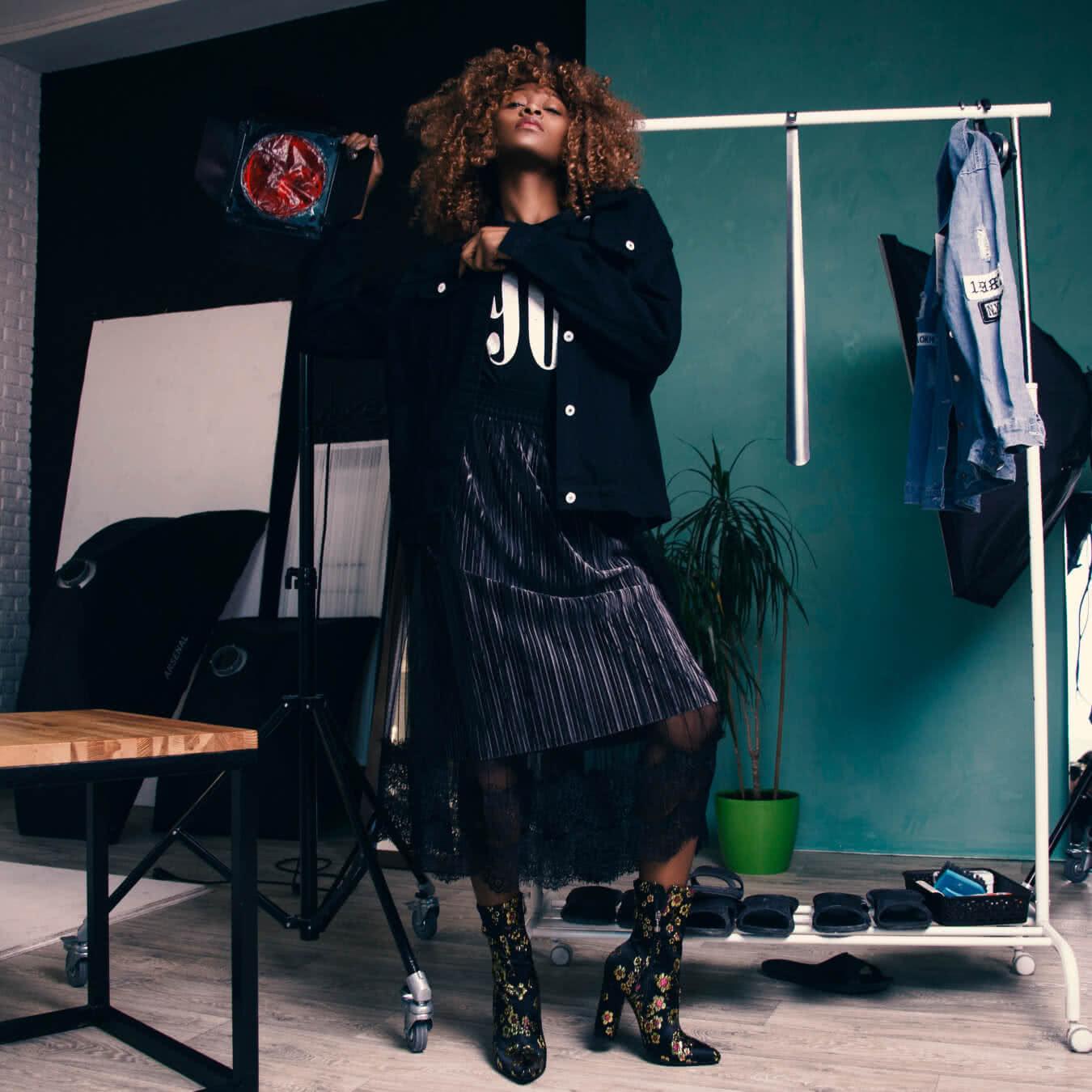 Black Suede Pleated Skirt