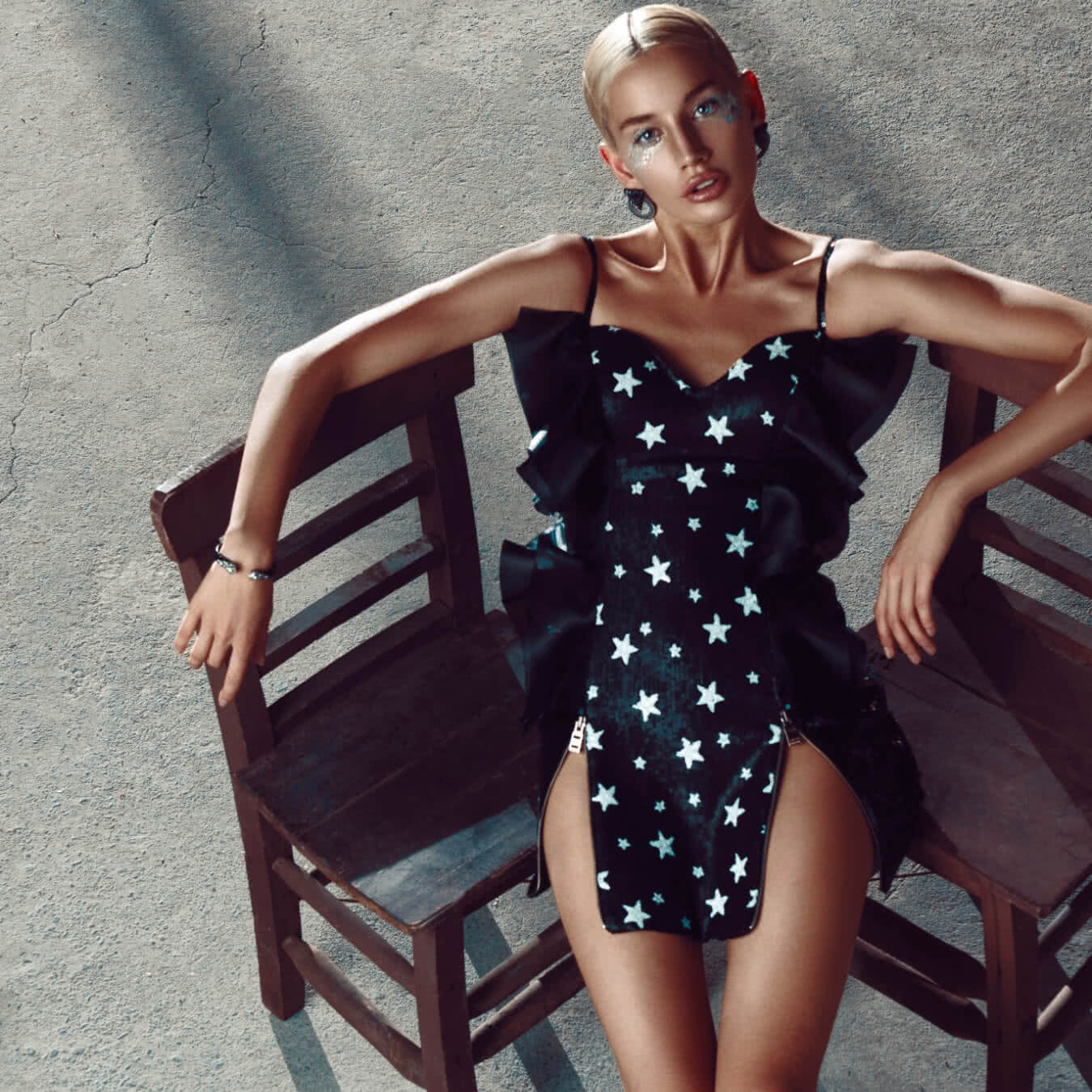 Silk Black Dress with Stars Pattern